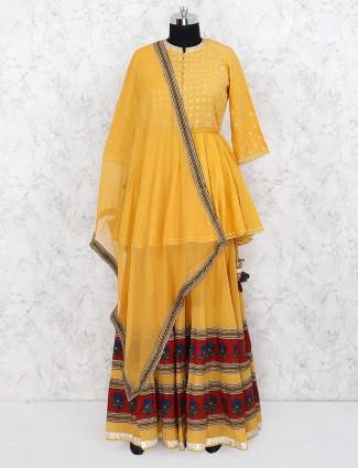 Gold hue cotton fabric peplum style lehenga choli