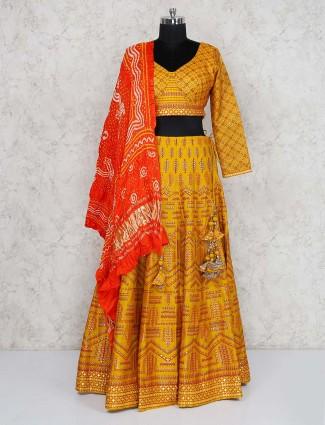 Gold hue silk fabric wedding function lehenga choli