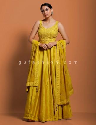 Gold raw silk floor length anarkali suit