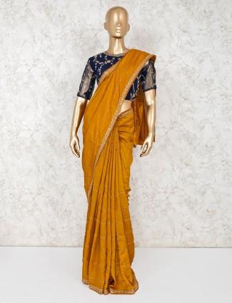 Gold satin festive wear saree with readymade blouse