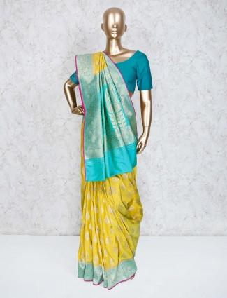 Gold semi silk wedding saree
