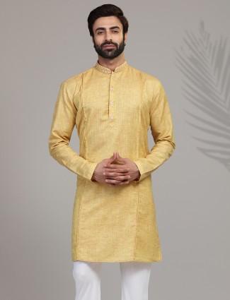 Gold solid cotton silk mens kurta