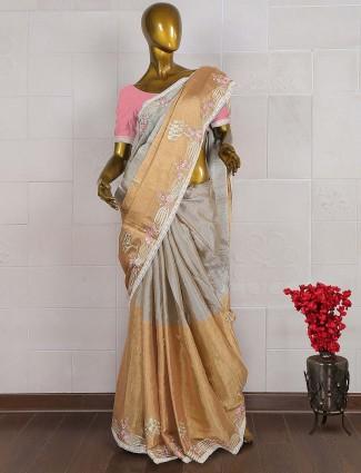 Golden and grey hue silk saree