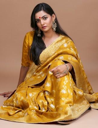 Golden color pure silk saree