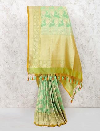 Gorgeous green banarasi semi silk saree for wedding