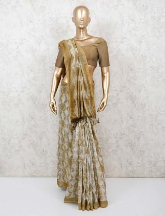 Gorgeous beige jaipuri shibori printed cotton saree