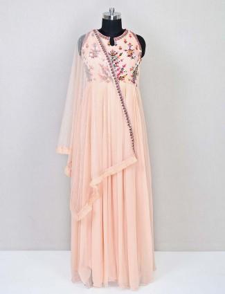 Gorgeous peach festive wear anarkali styke salwar suit