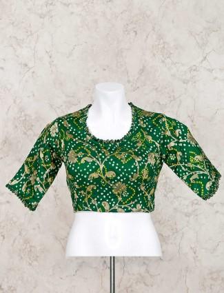 Green bandhej round neck ready made blouse