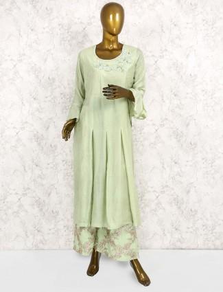 Green color cotton silk punjabi salwar suit