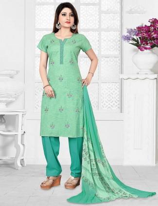 Green color gorgeous punjabi salwar suit in cotton