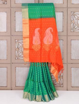 Green color silk simple wedding wear saree