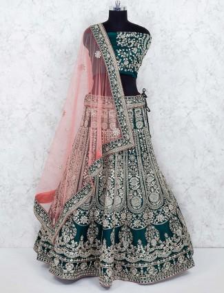 Green color wedding semi stitched lehenga choli