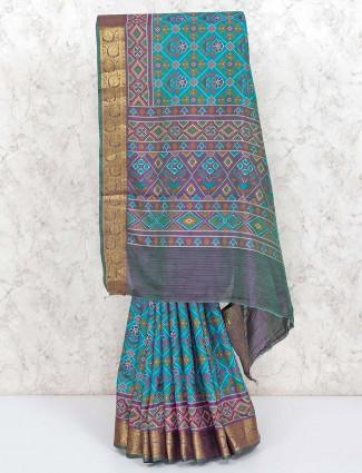Green cotton silk patola printed saree
