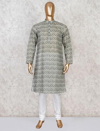 Green cotton stand collar kurta suit