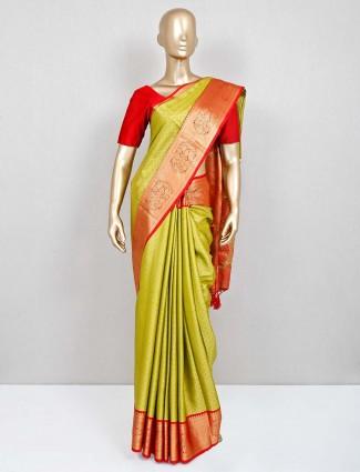 Green festive south silk saree
