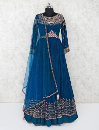 Green georgette designer indian anarkali dress