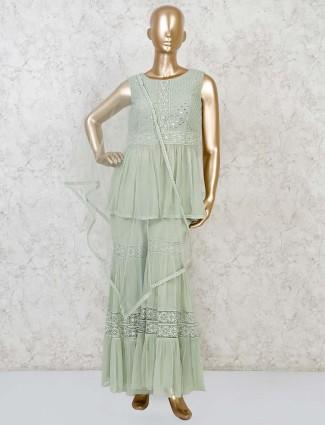 Green georgette wedding punjabi sharara suit