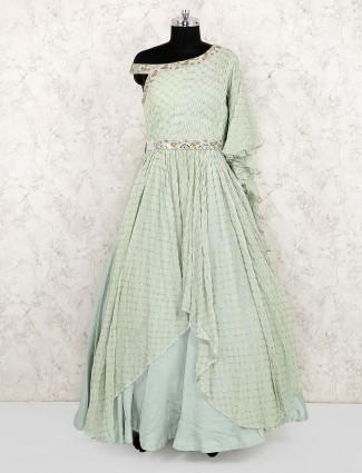 Green hue georgette silk asymmetric gown