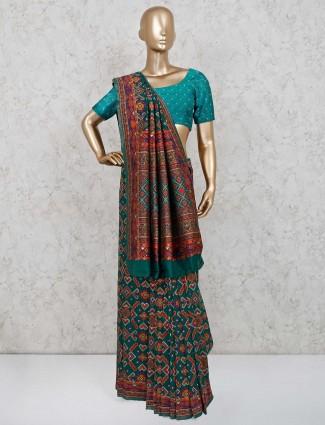 Green patola silk saree in wedding