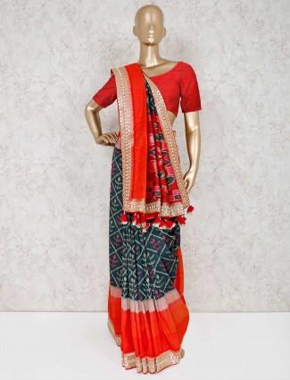 Green patola silk wedding wear saree