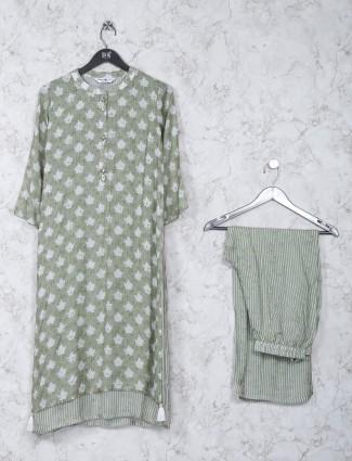 Green printed pattern cotton festive kurti set