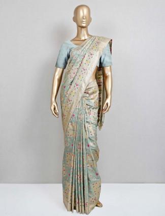 Green semi banarasi silk wedding wear sari