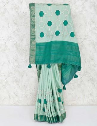 Green semi silk festive wear sari