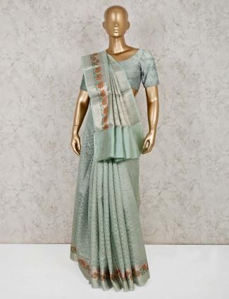 Green wedding wear cotton banarasi silk saree