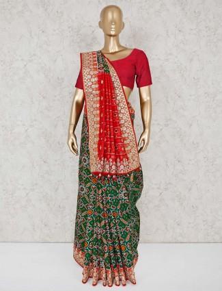 Green wedding wear designer patola silk saree