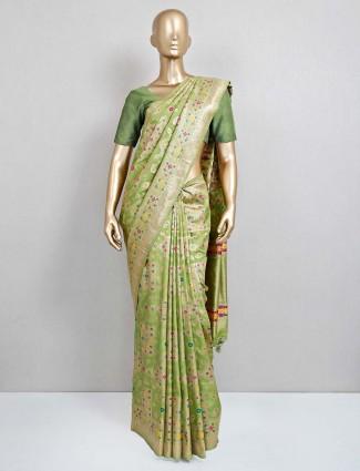 Green wedding wear semi banarasi silk saree