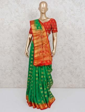 Green zari weaving saree in semi cotton silk