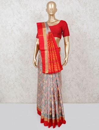 Grey and pink patola silk saree in wedding