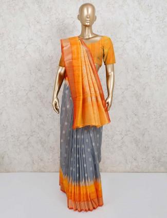 Grey banarasi silk festive saree