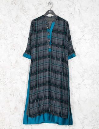 Grey color checks pattern cotton fabric kurti