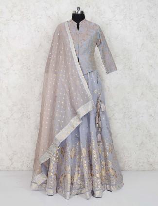 Grey color gorgeous silk party lehenga choli