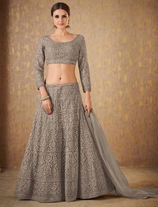 Grey color net wedding function lehenga choli