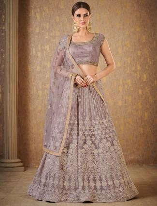 Grey color net wedding lehenga choli