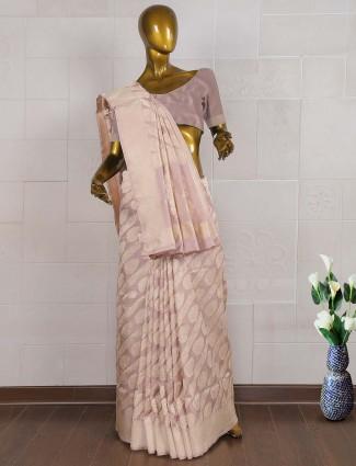 Grey color pure banarasi wedding saree