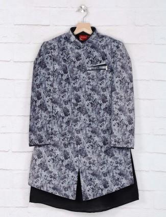 Grey cotton silk boys indo western