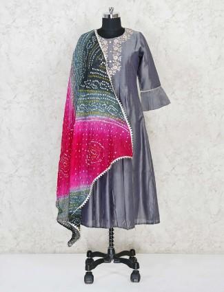 Grey cotton silk festive wear kurti