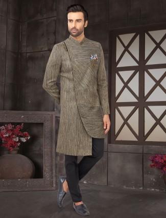 Grey cotton silk indo western for wedding