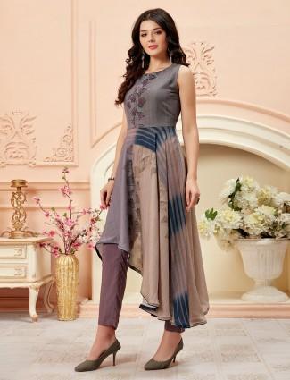 Grey cotton silk printed pant set
