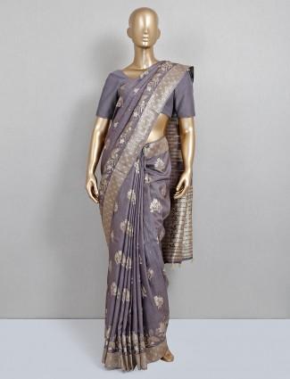 Grey dola silk wedding special saree