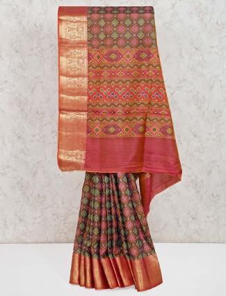 Grey festive cotton silk patola printed saree