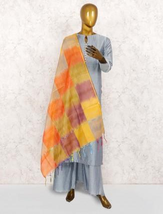 Grey festive wear cotton silk punjabi palazzo set