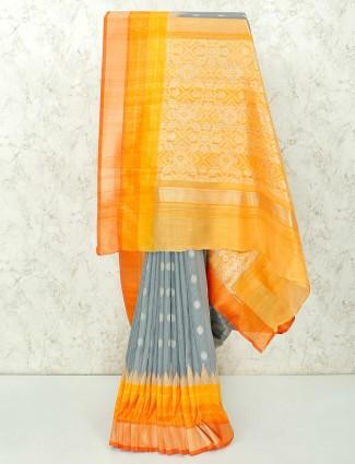 Grey festive wear saree in semi silk