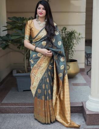 Grey hue banarasi silk festive saree
