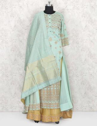 Grey hue cotton silk lehenga cum salwar suit