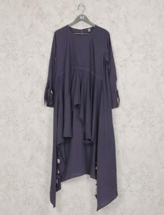 Grey hue designer cotton festive kurti set