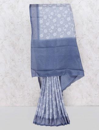 Grey hue printed festive saree in cotton
